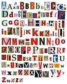 Colorful, newspaper, magazine alphabet — Stock Photo