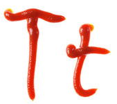 Alphabet letters made from tomato, ketchup syrup are isolated — Stock Photo