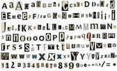 Newspaper, magazine alphabet with numbers and symbols — Stock Photo