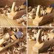 Set of Carpenter's jack planes and shaving on a wooden planks — Stock Photo