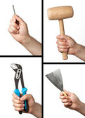 Set of different tools: hammer, wrench, putty knife and nail. — Stock Photo