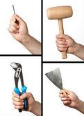 Set di strumenti diversi: martello, chiave, lama di mastice e chiodo. — Foto Stock
