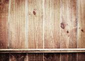 Empty shelf on wooden background. Wood texture. — Stock Photo