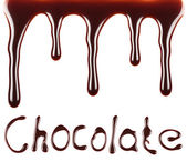 Chocolate syrup flow chocolate text — Stock Photo