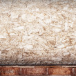 Compressed wood and brick grunge wall — Stock Photo