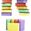Set colorful kitchen sponges are isolated on a white — Stock Photo #33797683