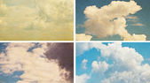 Set sky and clouds on grunge paper texture — Stock Photo