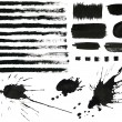 Set of grunge black ink brush strokes, splesh, design elements — Stock Photo