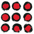 Set of ink brush strokes, circle,round spots. Grunge design element. — Stock Photo #34783223