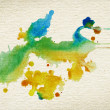 Abstract watercolor, ink splashes on brown grainy paper — Stock Photo #40911739