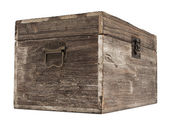 Old wooden chest is isolated on white — Stock Photo
