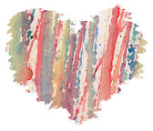 Watercolor heart from splashes — Stock Photo