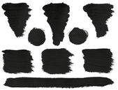 Collection of black brush strokes. — Stock Photo