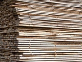 Stack of wood planks for construction buildings and furniture production  — Stock Photo