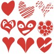 Set of different hearts shapes, Valentine, symbols. — Stock Vector #50911317