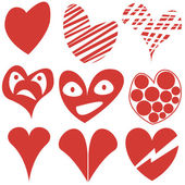 Set of different hearts shapes, Valentine, symbols. — Stock Vector