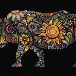 Cheerful rhinoceros — Stock Vector