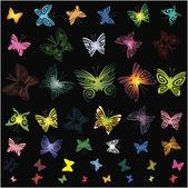 Zestaw elementów konstrukcji (motyle) — Wektor stockowy