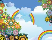 Gökkuşağı ve çiçekler — Stok Vektör