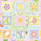 Baby seamless texture with letters — Stock Vector