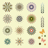 Set of design elements, flowers — Stock Vector