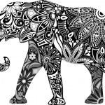 The cheerful elephant. — Stock Vector
