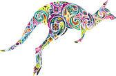 Floral kangaroo. — Stock Vector