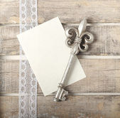 Silver key diary greeting card — Stock Photo