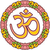 Om - Aum - Symbol in Lotus Frame — Stock Vector