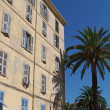 Mediterranean building and palm trees , Ajaccio, Corsica. — Stock Photo