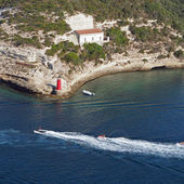 博湾,8 月 2012,摩托艇从托架的标题 — 图库照片