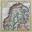 Original antique Sweden and Norway map — Stock Photo