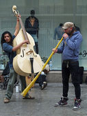 Barcelona april 2012, street musicians — Stock Photo