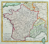 Original antique France map — Stock Photo