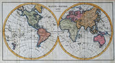 Original antique world map — Stock Photo