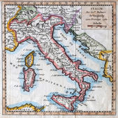 Original antique Italy map — Stock Photo