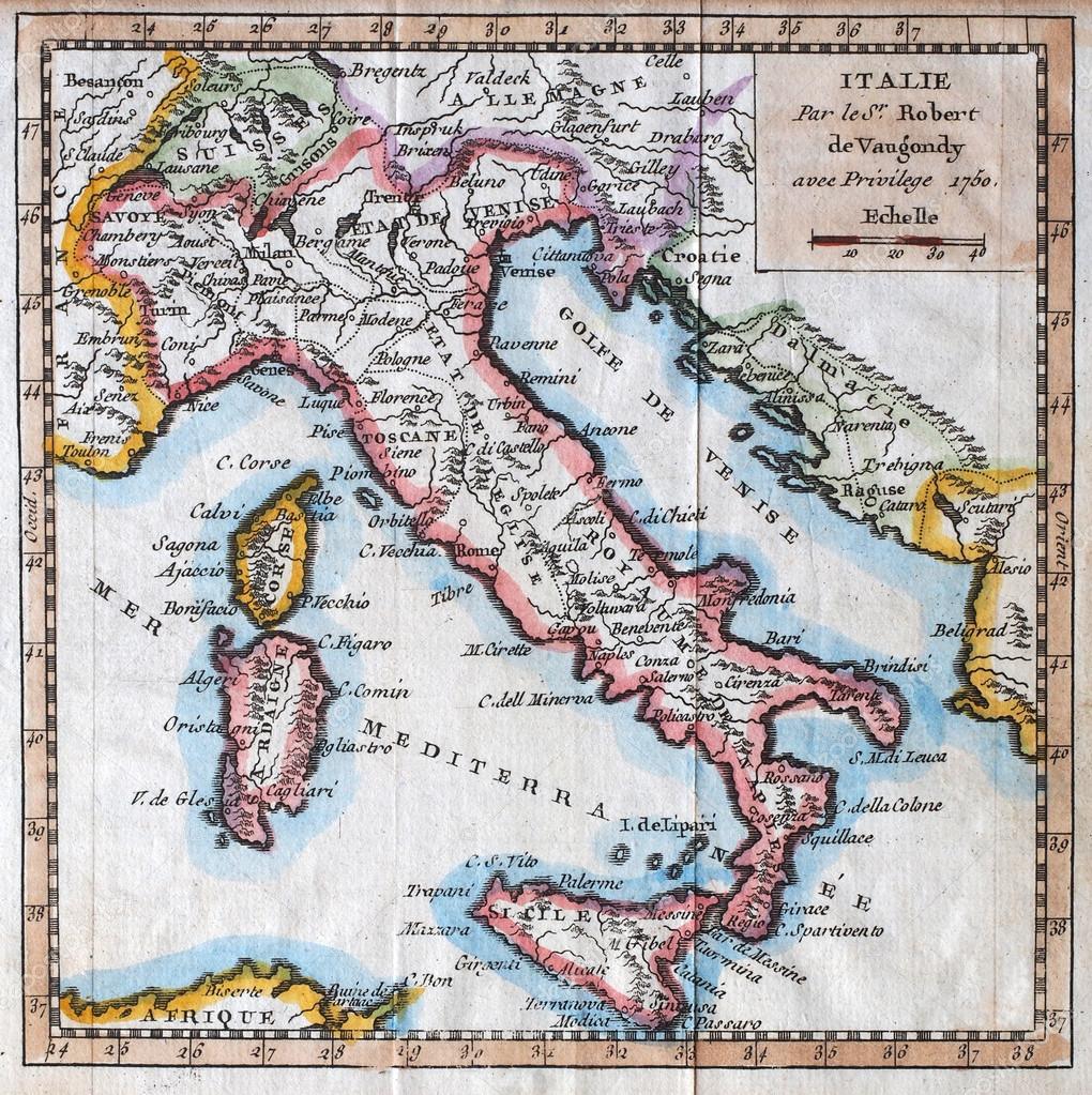 原始古董意大利地图
