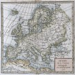 Original antique Europe map — Stock Photo