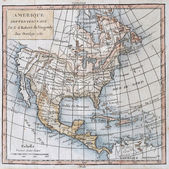 Original antique north America map — Stock Photo