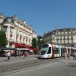 angers, france, july 2013, tramway in the town center square — Stock Photo