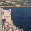 Dubrovnik, august 2013, Croatia, fortification wall and bar — Stock Photo