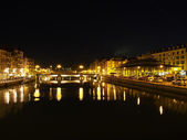Bayonne, october 2013, Nive riverside at night, France — Stock Photo