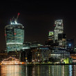 Stock Photo: London Thames waterfront at night, december 2013