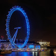 Stock Photo: London eye at night, december 2013