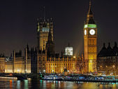 Westminster palace and Big Ben at night, London, december 2013 — Stock Photo