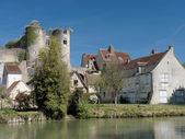Montresor village and castle seen from the Indrois river, France — Stock Photo