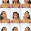 Stock Photo: Collage of young woman face expressions