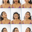 Collage of young woman face expressions — Stock Photo