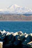 Mount Baker with white rock beach and mud bay — Stock Photo