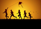 Children flying a kite — Vector de stock